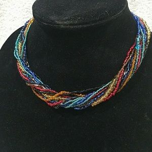 Jewelry - A multicolored, multi-strand seed bead necklace